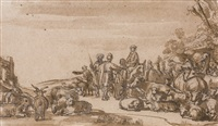 a biblical scene with shepherds and cattle by claes cornelisz moeyaert
