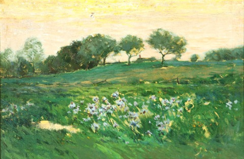 california landscape with field of purple irises by charles warren eaton