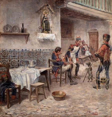 soldados en la taberna by manuel picolo y lopez