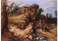 felsige landschaft mit staffagefiguren by lucas achtschellinck