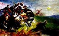 arabische reiter in der steppe by heinrich maria staackmann