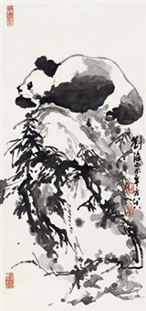熊猫 立轴 纸本 by liu haisu