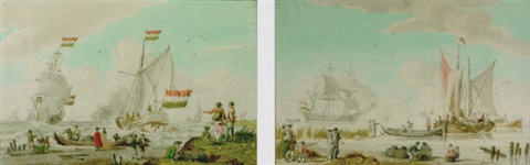 figures on a beach with a galley firing a salute and other ships in the distance by nicolaas aartman
