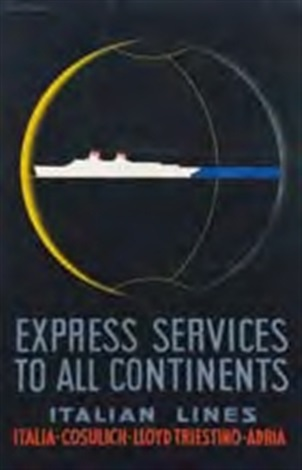 express services to all continents italian lines by lucio fontana