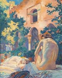 jeunes filles nues au jardin by huib (huber marie) luns