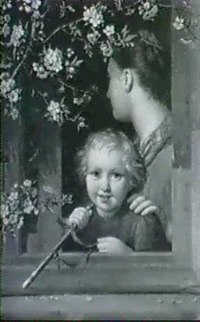 mutter und kind mit holzpfeifchen am offenen fenster, in dasbluhende obstbaumzweige ragen by august von der embde