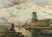 windmills at dusk by charles frederick allbon