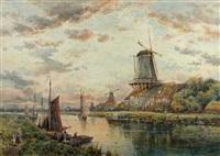 windmills at dusk by charles frederick allbon