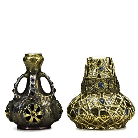 four handled vase with reticulated roundels and squat vase with holly decoration 2 works by amphora werke reissner
