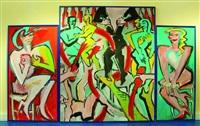 wenn es nacht wird in berlin (triptychon) by elvira bach
