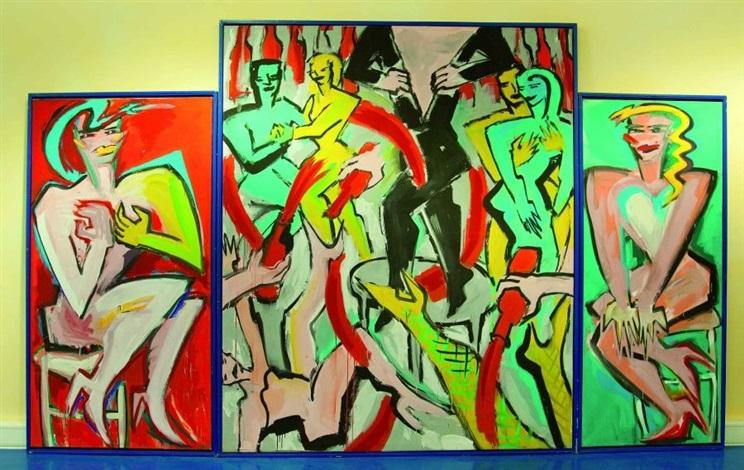 wenn es nacht wird in berlin triptychon by elvira bach