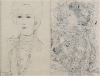portrait féminins (various sizes; 2 works) by marguerite acarin