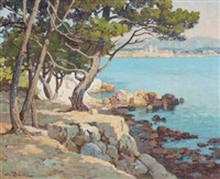vue sur antibes depuis la pointe du bacon by emile robert
