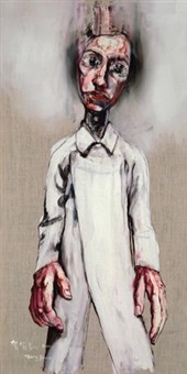 穿白风衣的肖像 (portrait of a man in white coat) by zeng fanzhi