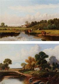 paesaggio fluviale con armenti e un gruppo di case sullo sfondo by b. cook
