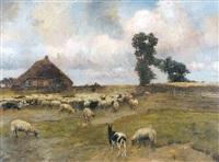 landschap met schaapherder en kudde by louis albert roessingh