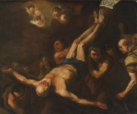 crucifixion of st peter by luca giordano