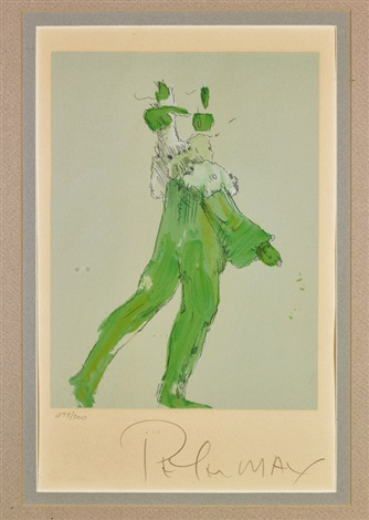 walking figure in green and figure in blue holding a bird (2 works) by peter max