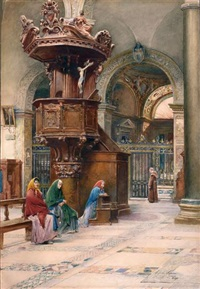 cathedral interior showing women in prayer and a monk by scipione simoni