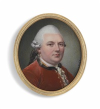 a gentleman, in red coat, powdered hair worn en queue with wig bag by nicolas andré courtois