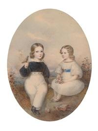 geschwisterpaar mit singvogel und spielzeug, in einer landschaft sitzend by josef kriehuber