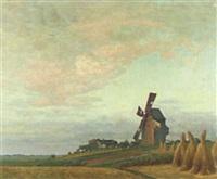 sommerlandschaft mit windmühle by adolf zrdazila