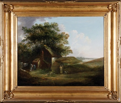 landscape with figures beside a cottage by george morland