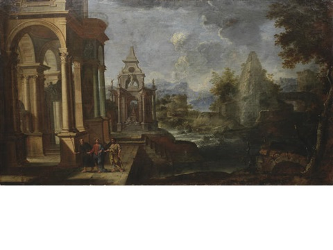 two architectural capricci with scenes from the life of christ 2 works by alessandro salucci