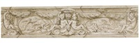 design for the decoration of a cornice, with mythological subjects and putti by domenico piola