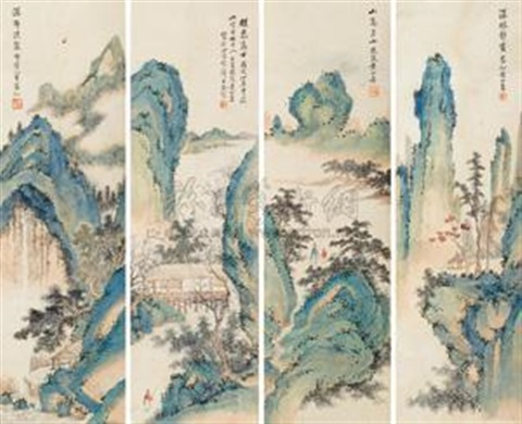 山水 (四幅) landscape set of 4 by huang shanshou