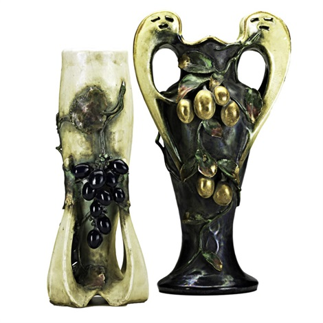 vases with fruit and vines 2 works by amphora werke reissner