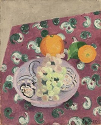 grapes and oranges (+ purple flowers in a jug, verso) by jane simone bussy