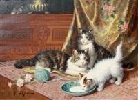 chatte et chatons à l'assiette de lait by jules gustave leroy