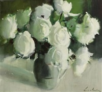 still life with roses by louis van heerden