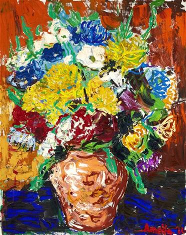 stilleben med blommor i krus by albin amelin
