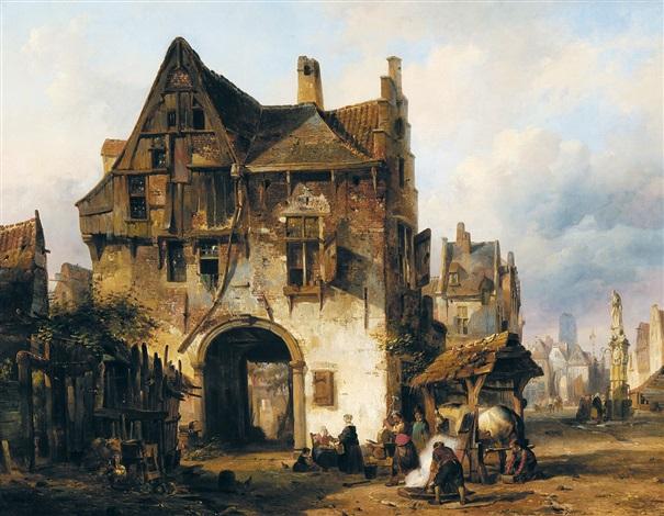 oude stad met smeden aan het werk by jean jan michael ruyten