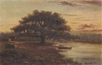 louisiana bayou with cabin and pirogue by alphonse j. gamotis