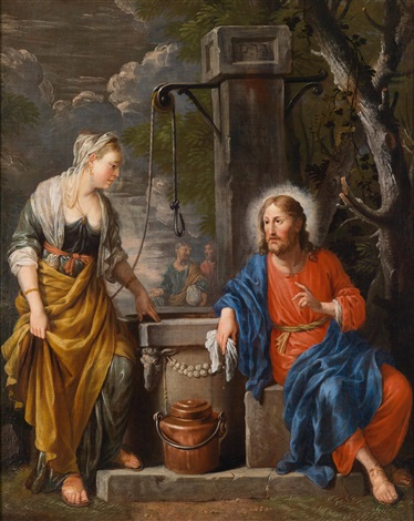 christus und die samariterin am brunnen by johann heiss