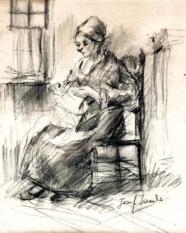young woman knitting by jozef israëls