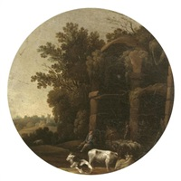 an italianate landscape with drovers and their animals resting before classical ruins by filippo d' angeli
