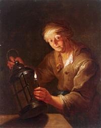 bildnis einer alten frau, die eine brennende kerze in eine laterne stellt by anna dorothea lisiewski