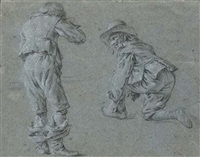 a standing man, seen from behind, and a man kneeling to tie his shoelace by jan miel