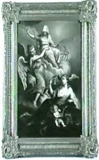 allegorie der dichtkunst (?) die als weibliche figur unten neben einem putto sitzt, uber ihr die personifikation....... by n. augner