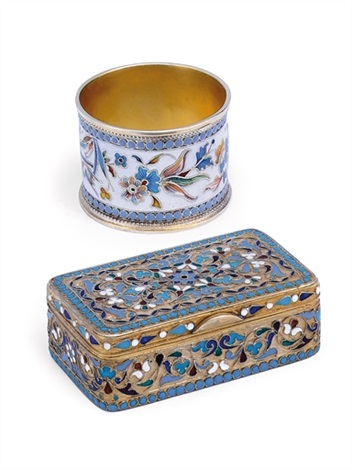 snuff box napkin ring 2 pieces by vasili igorovich rukavishnikov
