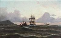 maritime scene by lars laurits larsen haaland