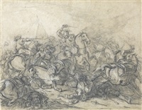 a pair of battle scenes (2 works) by charles parrocel