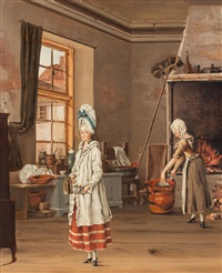 köksinteriör med två kvinnor by johan rodin