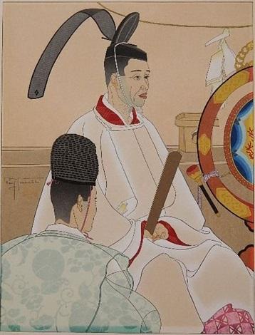 hommages auc ancetres pretre shinto japan by paul jacoulet