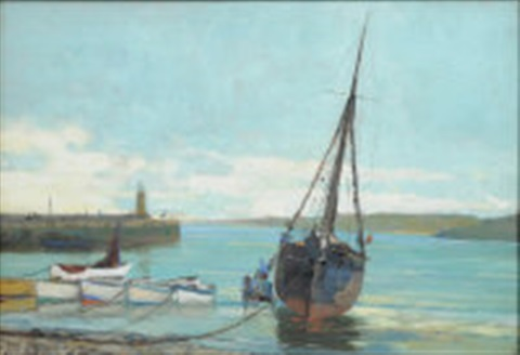 st ives harbour by john mallord bromley