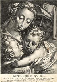 die heilige familie mit johannesknaben (after c. van haarlem) by lukas kilian